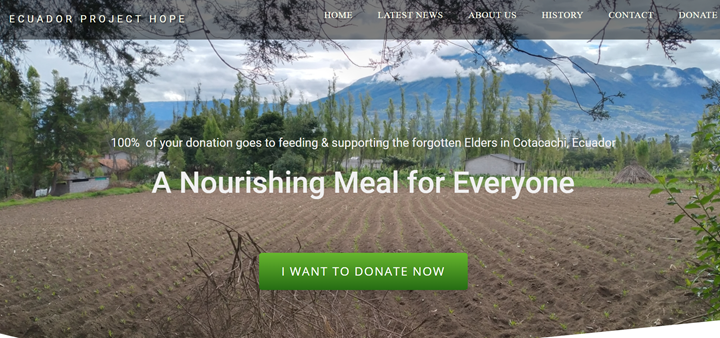 Ecuador Project Hope Website - Front page
